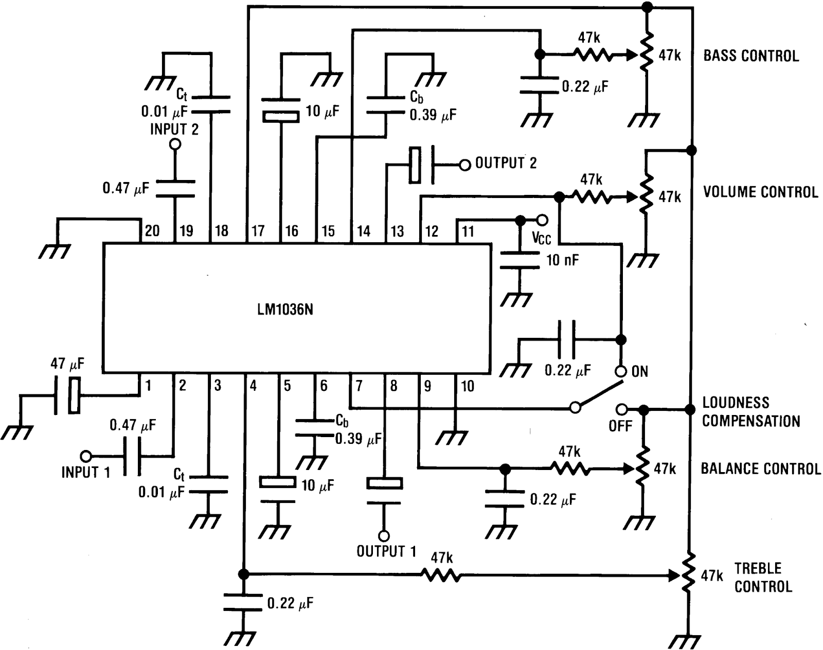 Electronic Projects: LM1036 Tone/Volume/Balance Circuit