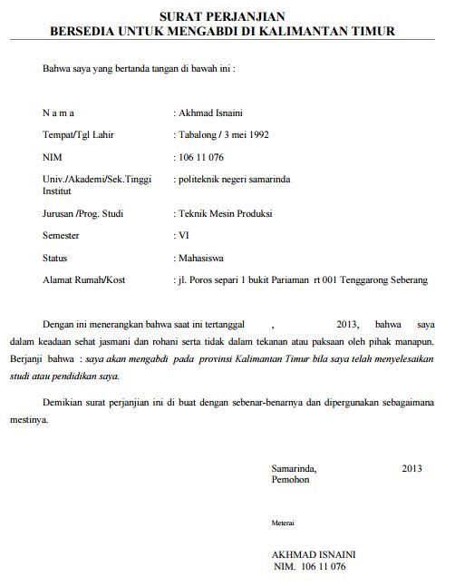 Contoh Surat Perjanjian Mengabdi Setelah Lulus Kuliah Mahasiswa Di