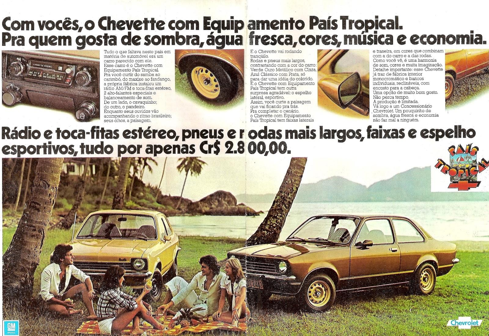 Imagem da propaganda de época do Chevrolet Chevette País Tropical