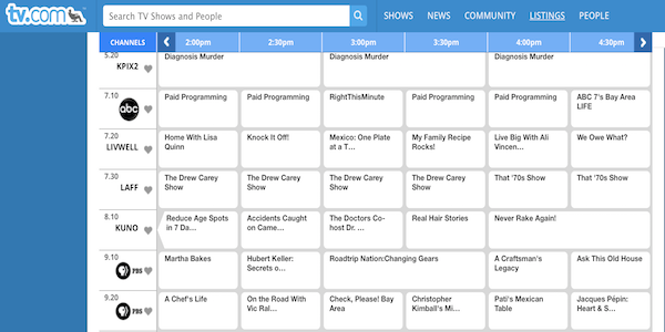 TV.com Listings TV guide