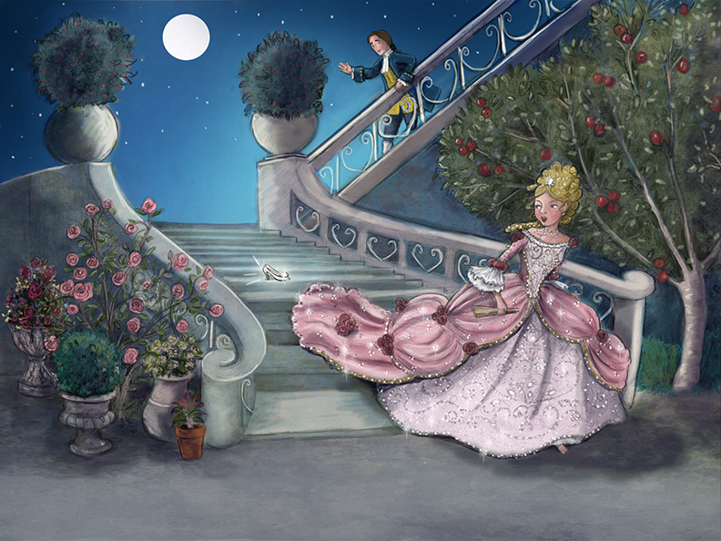 Sue Rundle-Hughes, Illustrator Cinderella Running Away From The Ball