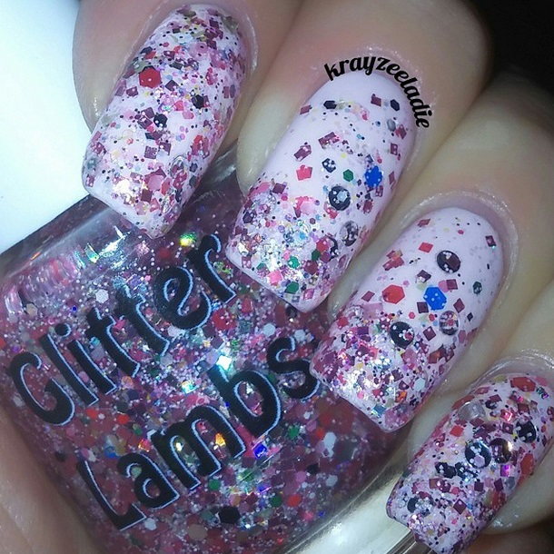 "Glitter Lambs ""Christmas Jelly Roll"" glitter topper nail polish worn by @Krayzeeladie"