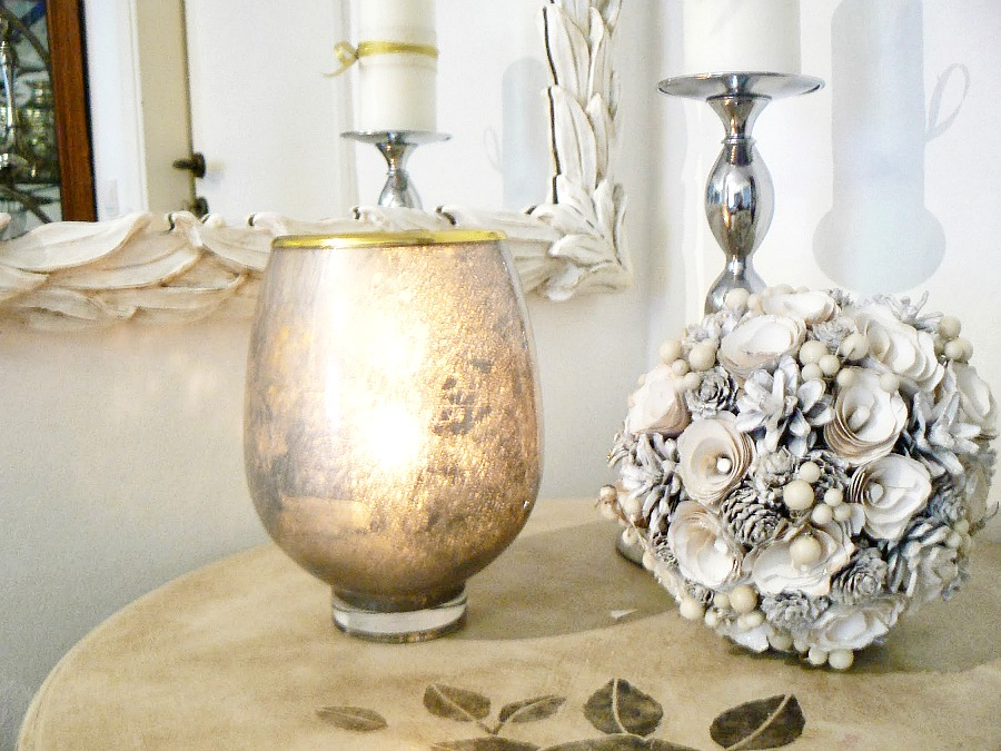 Mercury glass flower vase becomes a candle lantern