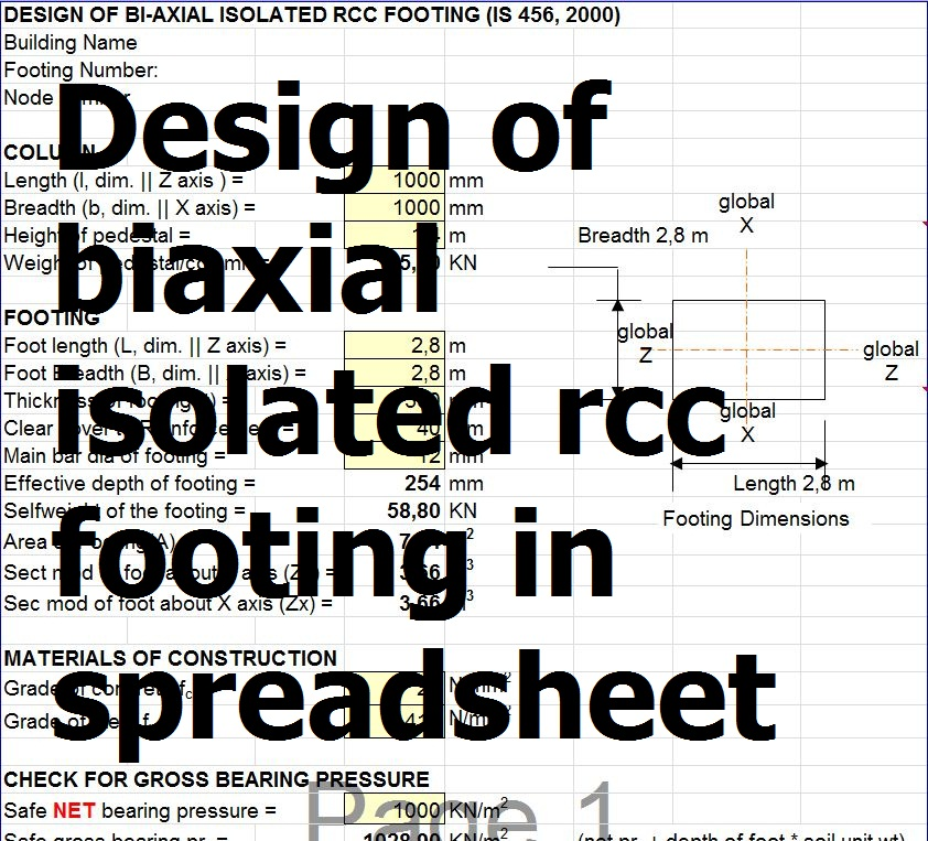 Design of biaxial isolated rcc footing in spreadsheet