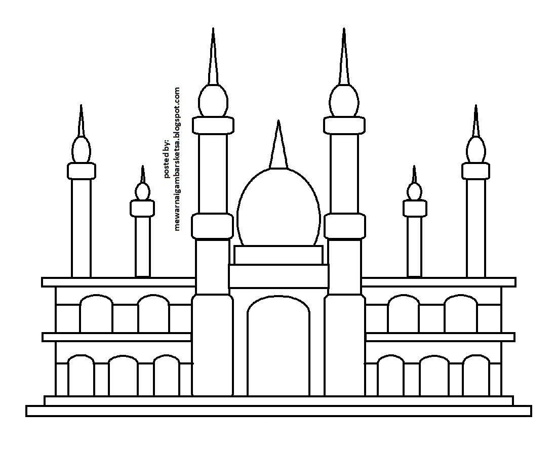 Gambar Mewarnai Gambar Tempat Ibadah Berdoa Masjid Download Sketsa