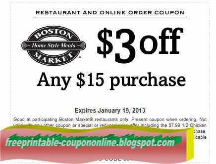 image regarding Boston Market Printable Coupons identified as Boston current market printable discount coupons december 2018 : Ninja