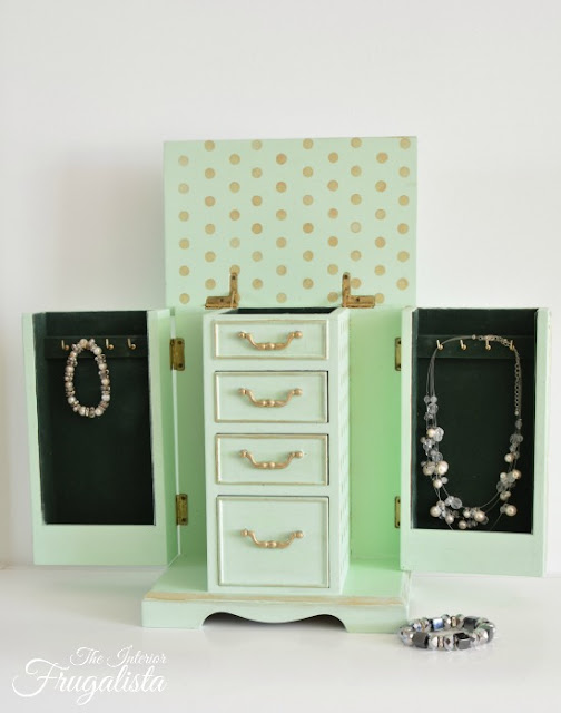 Mint Jewelry Box Interior After Makeover