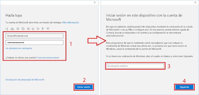 Crea una cuenta Microsoft ahora mismo.