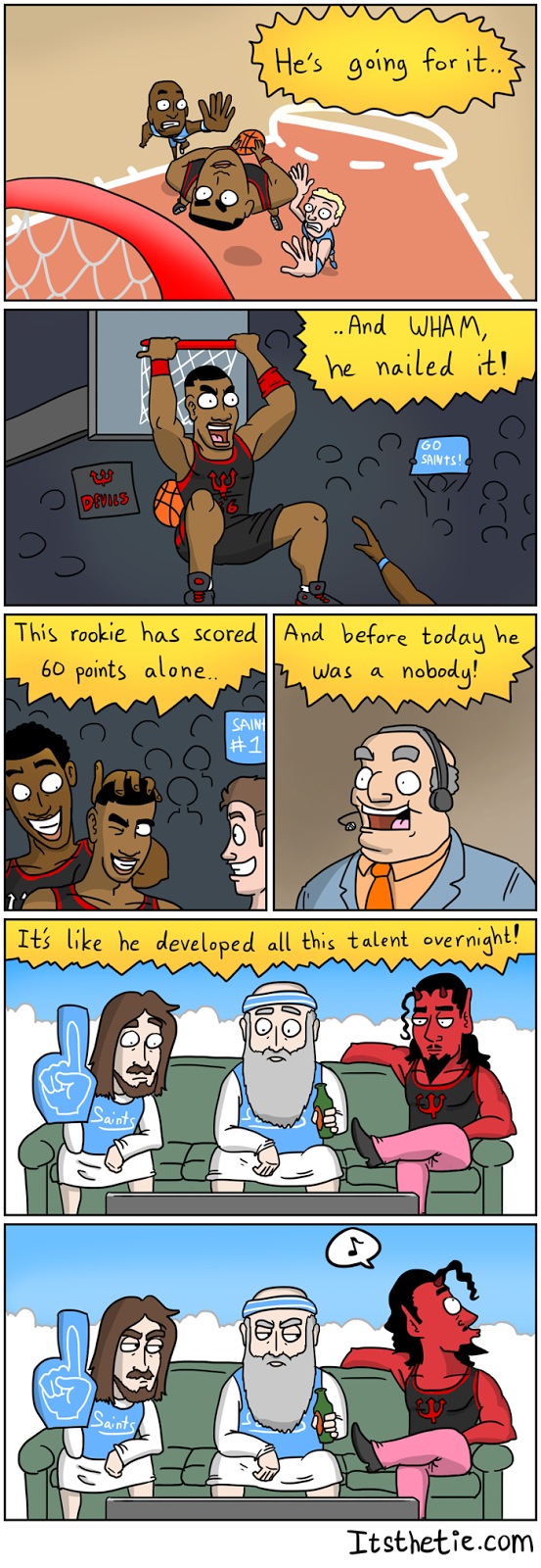 A comic about Satan cheating at sports