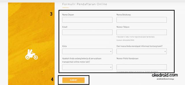 Formulir Pendaftaran Online GO-RIDE GO-JEK 2017