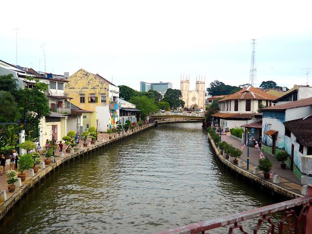 River bridge view in Melaka, Malaysia