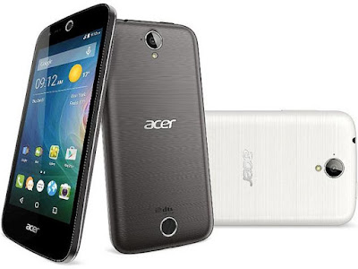 Acer Liquid Z320 Specifications - LAUNCH Announced 2015, September DISPLAY Type IPS LCD capacitive touchscreen, 16M colors Size 4.5 inches (~61.7% screen-to-body ratio) Resolution 480 x 854 pixels (~218 ppi pixel density) Multitouch Yes BODY Dimensions 136 x 66.5 x 9.6 mm (5.35 x 2.62 x 0.38 in) Weight 142 g (5.01 oz) SIM Single SIM (Micro-SIM) or Dual SIM (Micro-SIM, dual stand-by) PLATFORM OS Android OS, v5.1 (Lollipop) CPU Quad-core 1.0 GHz Cortex-A7 Chipset Qualcomm MSM8909 Snapdragon 210 GPU Adreno 304 MEMORY Card slot microSD (dedicated slot) Internal 8 GB, 1 GB RAM CAMERA Primary 5 MP, autofocus, LED flash Secondary 2 MP Features Yes Video Yes NETWORK Technology GSM / HSPA 2G bands GSM 850 / 900 / 1800 / 1900 - SIM 1 & SIM 2 (dual-SIM model only) 3G bands HSDPA Speed HSPA 42.2/5.76 Mbps GPRS Yes EDGE Yes COMMS WLAN Yes GPS Yes, with A-GPS USB microUSB v2.0 Radio FM radio Bluetooth v4.0, A2DP FEATURES Sensors Accelerometer, proximity Messaging SMS (threaded view), MMS, Email, Push Email, IM Browser HTML Java No SOUND Alert types Vibration; MP3, WAV ringtones Loudspeaker Yes 3.5mm jack Yes  - DTS sound BATTERY  Removable Li-Po 2000 mAh battery Stand-by  Talk time  Music play  MISC Colors Pure White  - MP3/WAV/eAAC+/WMA player - MP4/H.264/WMV player - Document viewer - Video/photo editor