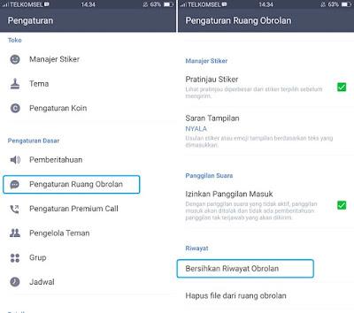 Bersihkan Riwayat Obrolan LINE Android