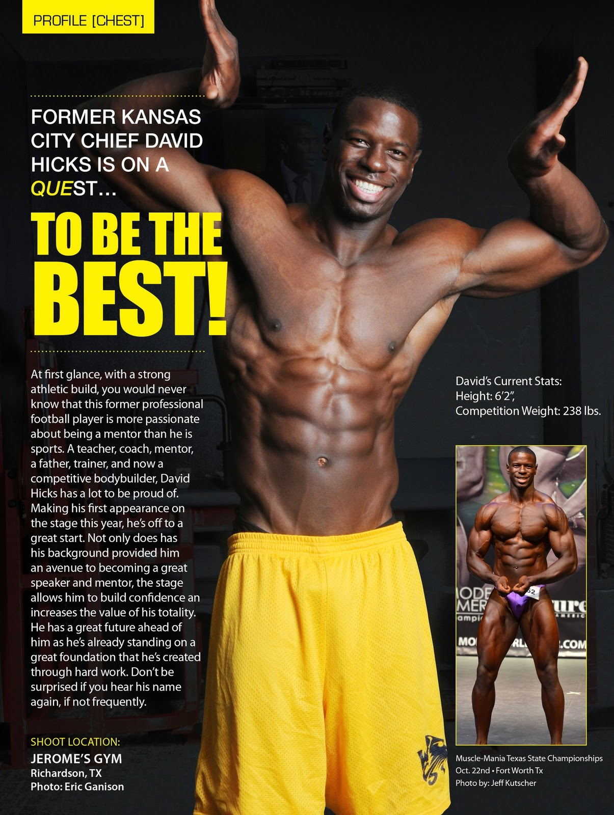 9c69c4d3 Natural Texas bodybuilder David Hicks is a bruiser on stage. The former NFL  Kansas City Chiefs football player switched to bodybuilding after getting a  ...