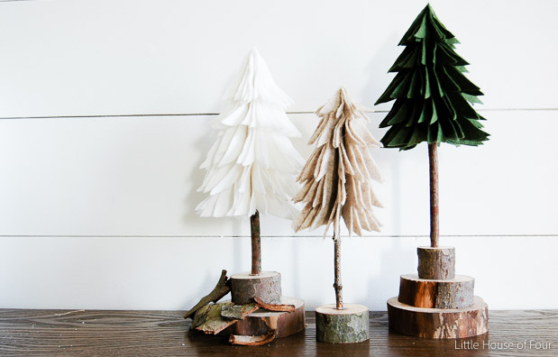 Rustic Felt Christmas Trees via Little House of Four