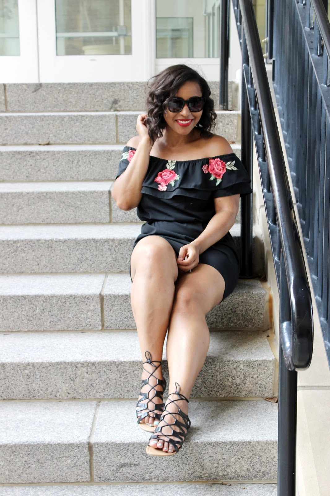 An Easy Peasy Summer Dress, embroidery, summer dress, black dress, rose embroidery, summer looks, off the shoulder, off the shoulder dress