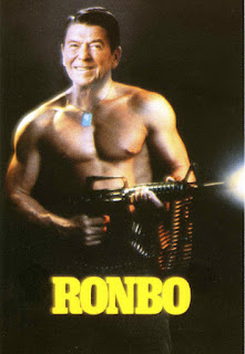 "postcard of Reagan's head on Rambo's body, titled ""Ronbo"""