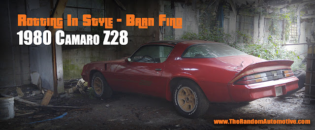 abandoned 1980 camaro z28 barn find atlanta 350 t-tops red random automotive rotting in style