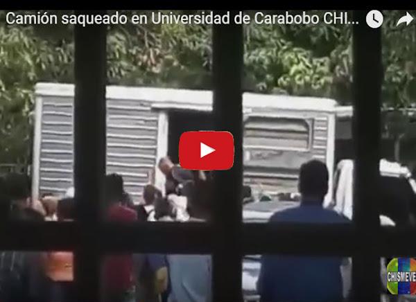 Camión saqueado en Universidad de Carabobo