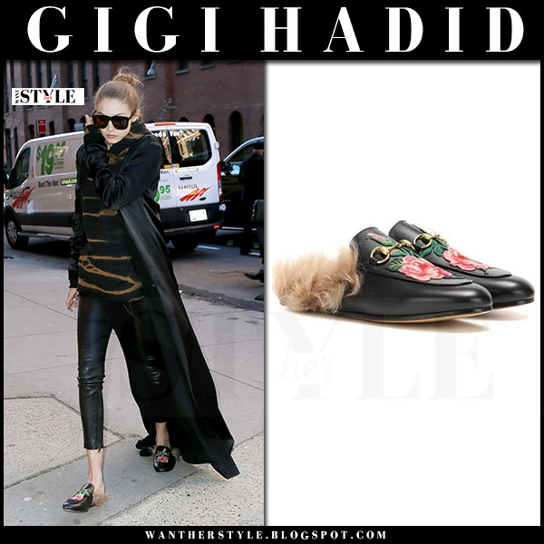 Gigi Hadid in black floral embroidered fur lined slippers gucci princetown what she wore