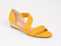 Sandale dama galbene de vara fara toc din piele naturala
