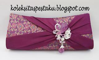 Handmade Grosir Tas Pesta Mewah Elegant Ungu Sari India Songket