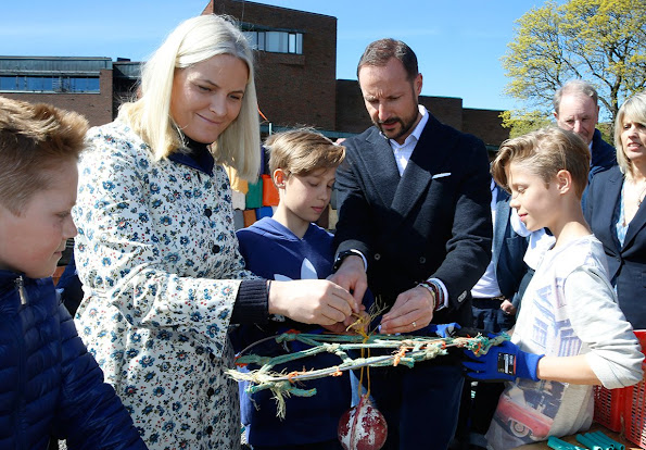 "Princess Mette-Marit and Prince Haakon attended the opening of the exhibition ""Hope for the Ocean"" (Håp for havet) Mette-Marit wore Valantino dress, jewelery style"