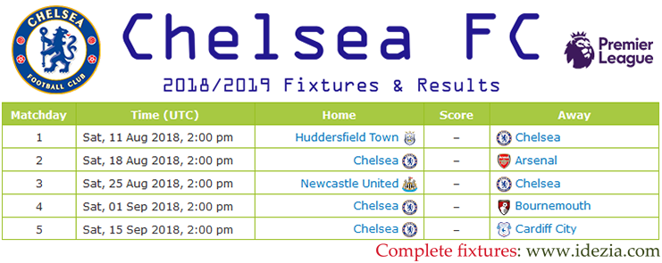 Download Full Fixtures PNG JPG Chelsea 2018-2019
