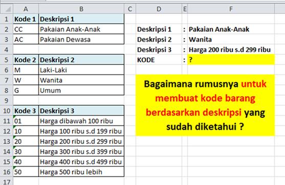 Contoh Soal Excel VLOOKUP Membuat Kode Barang