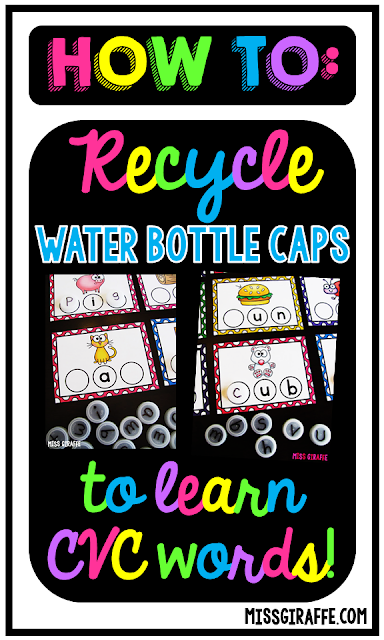 How to recycle water bottle caps to learn CVC words! These are such fun activities!