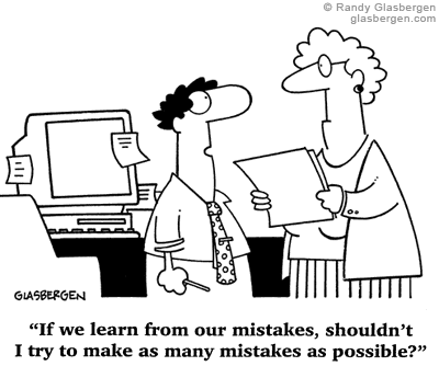 Cartoon on repeating mistakes to learn