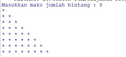 contoh program python menampilkan pola segitiga bintang
