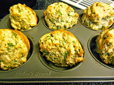 Sourdough Parsley and Parmesan Cheese Muffins, ready to serve.