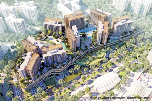 Buangkok MRT Mixed Development - Ariel View