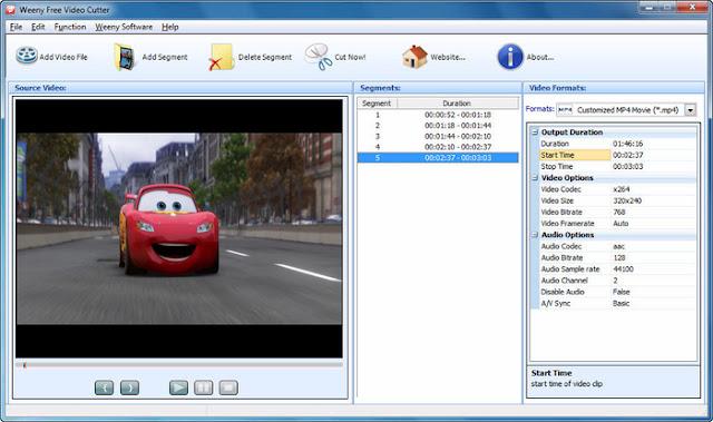 Weeny Free Video Cutter programı