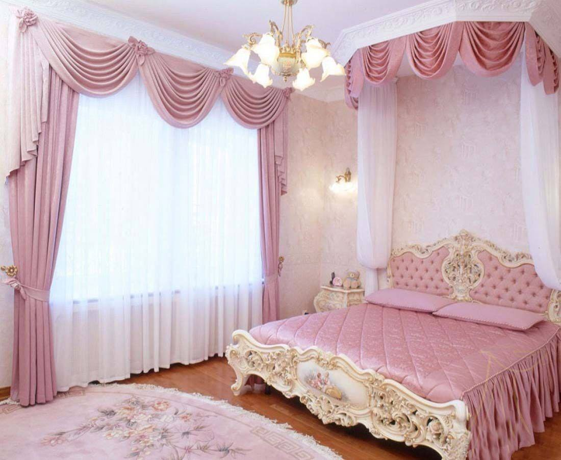 classy curtains for bedrooms in pink color the silk is used for creating this luxury interior there is a canopy as well with the curtains and backdrops to - Bedroom Curtain Colors
