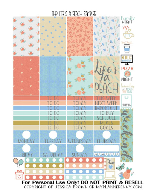 Free Printable Life's A Peach Sampler for the Classic Happy Planner from myplannerenvy.com