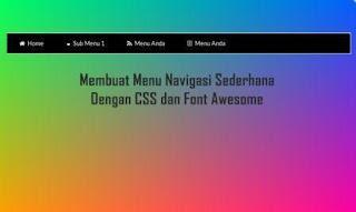 Membuat Menu Navigasi Sederhana Dengan CSS dan Font Awesome