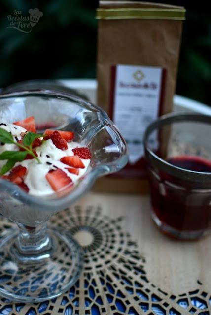 Helado de te de frutas, fresa y nata 02