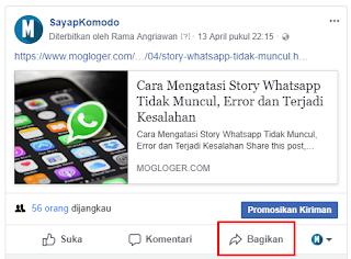 agar tidak terdeteksi spam bagikan postingan lewat fanspage