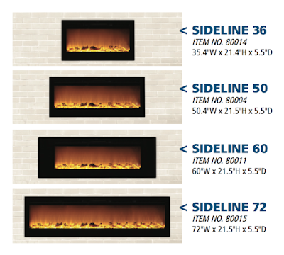 Touchstone Sideline Electric Fireplaces are available in 4 widths: 36-inch, 50-inch, 60-inch and 72-inch.