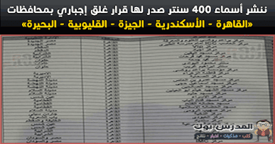 اسماء 400 سنتر صدر لها قرار غلق نهائي بالقاهرة والأسكندرية والجيزة والبحيرة والقليوبية