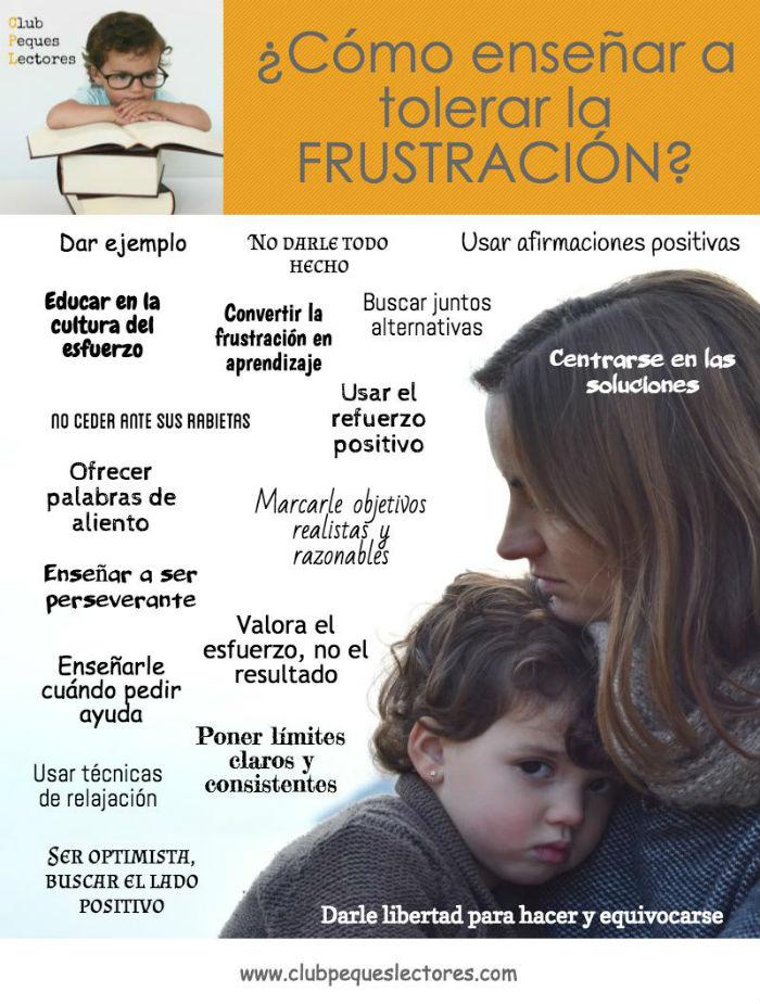 infografia claves, trucos, consejos ayudar niños a superar, tolerar frustracion