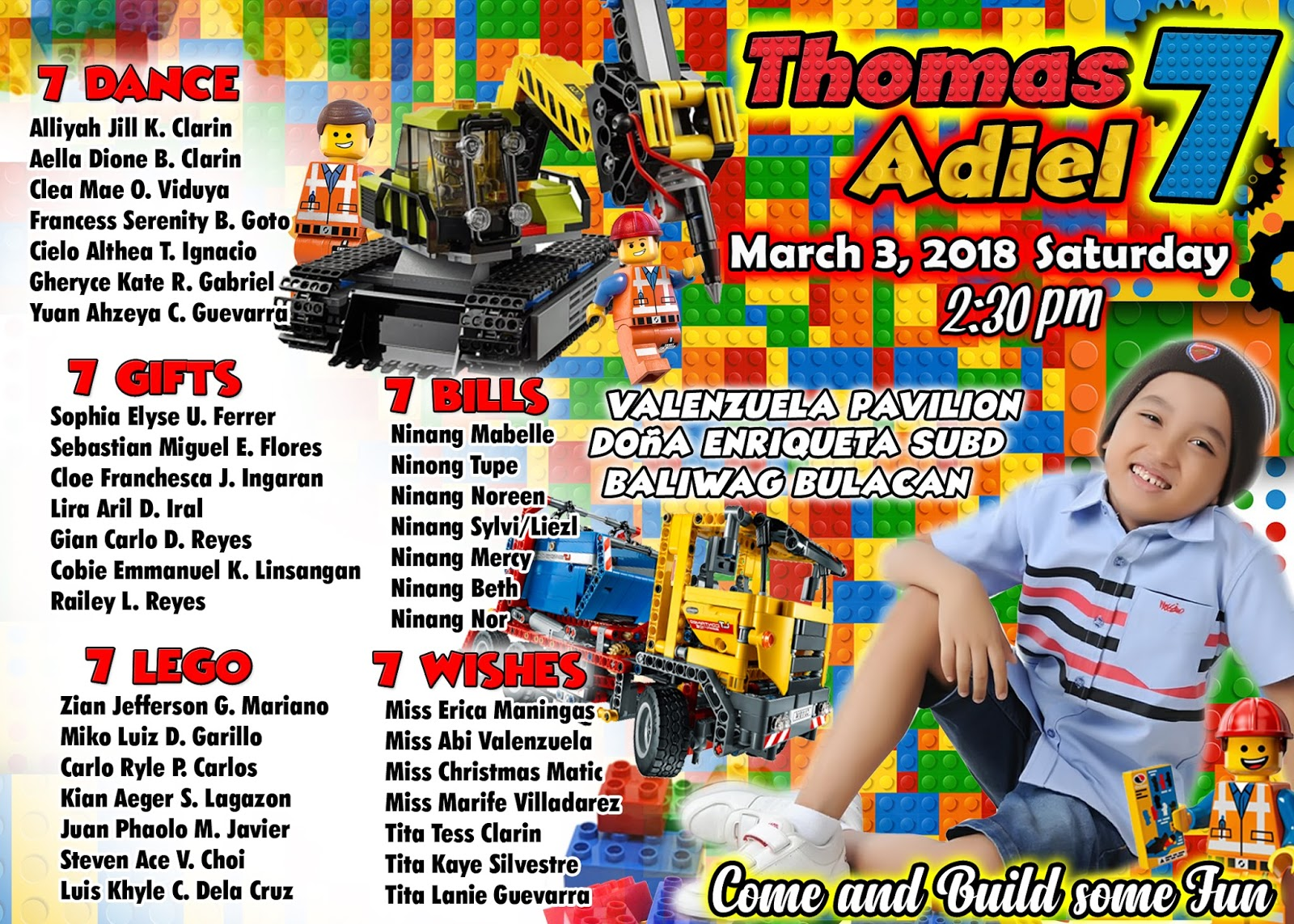 seventh birthday sample invitation lego