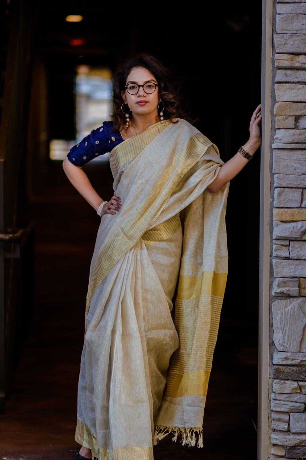 Saree, Aim For Glam, Wardrobe Essentials, Jord Watches, Perls, South Indian Fashion, Indian Fashion Blogger, Gold Tissue Saree, Le Svana, Prasanthi Kadiyala, Vizag Blogger, Hyderabad Fashion Blogger, Denver Blogger