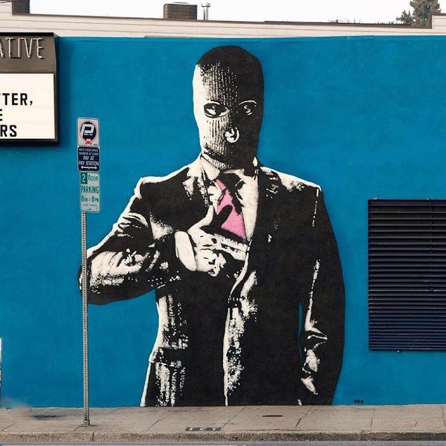 """""""Hangun"""" New Street Art Piece by Norwegian Artist Dot Dot Dot in Los Angeles, USA. 4"""