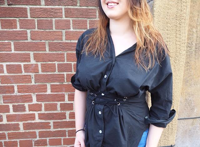 Close up of corset shirt