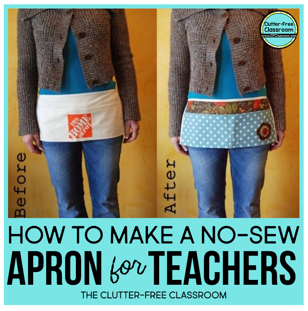 Check out this classroom organization tutorial to help you become a more organized teacher. This post provides step-by-step directions on how to create a DIY low cost no-sew teacher apron with pockets.