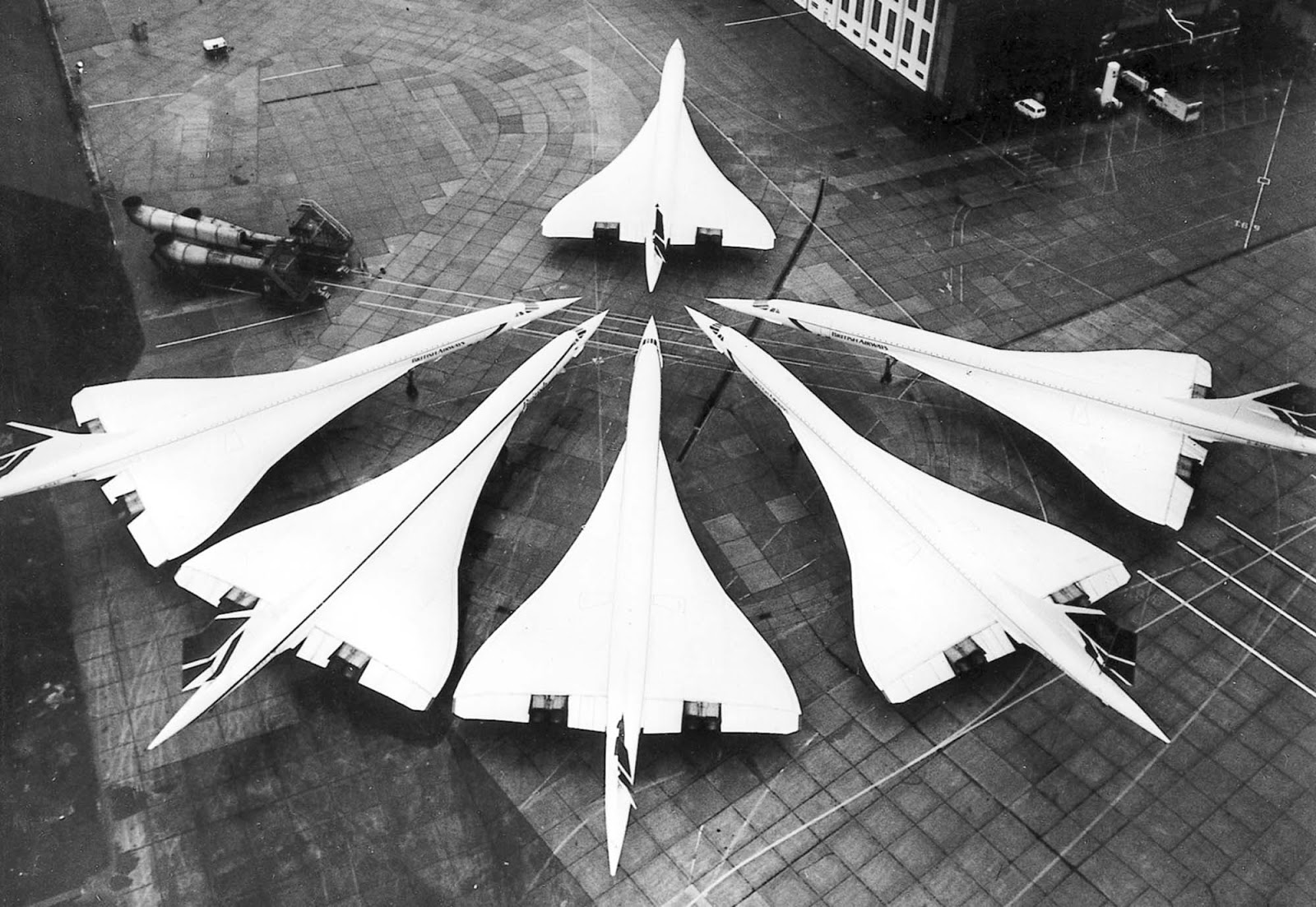 The British Concorde fleet at London Heathrow Airport, January 21, 1986.