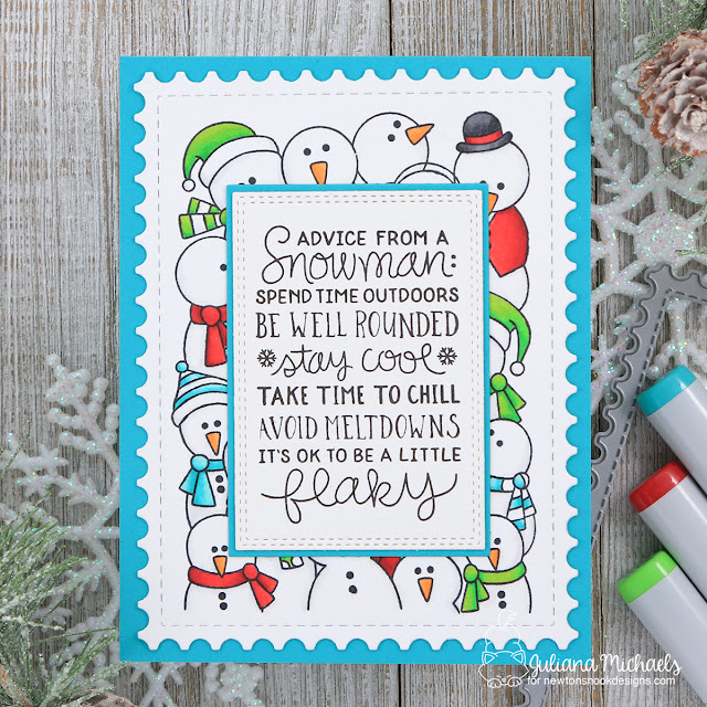 Snowman Advice Card by Juliana Michaels featuring Newton's Nook Designs Snowman Advice stamp set.